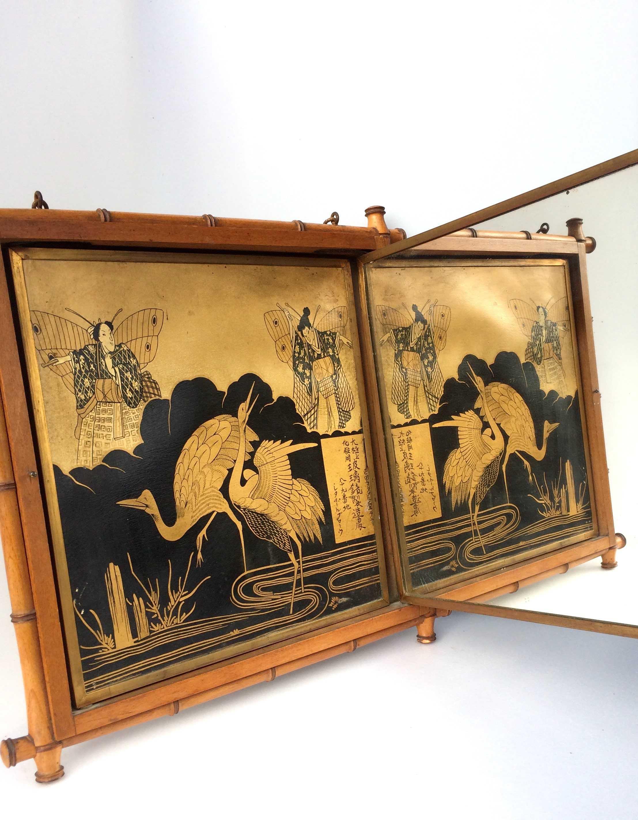 Miroir de barbier napol on 3 avec cadre en bambou et d cor du japon for Miroir de barbier