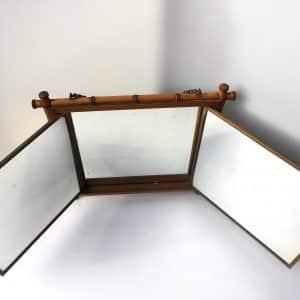 Miroir de barbier – Cadre en bambou – Décor de personnages et d'oiseaux du JAPON