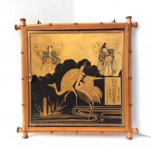 Miroir de barbier cadre bambou à décor de personnages et d'oiseaux du JAPON