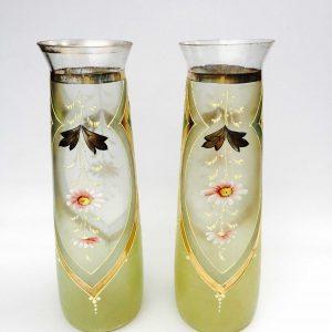 Vase tube en verre émaillé de fleurs style Legras