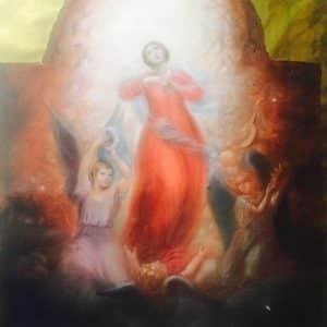 La sainte vierge entourée de ses anges – Dessin original aux pastels