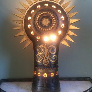 Lampe Soleil en terre cuite signé Pelletier
