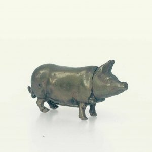 Cochon porte allumette boite en bronze avec pyrogène