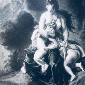 Eugène Delacroix – Médée furieuse – Lithographie ancienne 70 X 100 cm