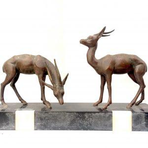 Statue en bronze couple d'antilope sur marbre