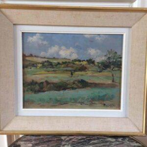tableau signé henri caron paysage d'auvergne