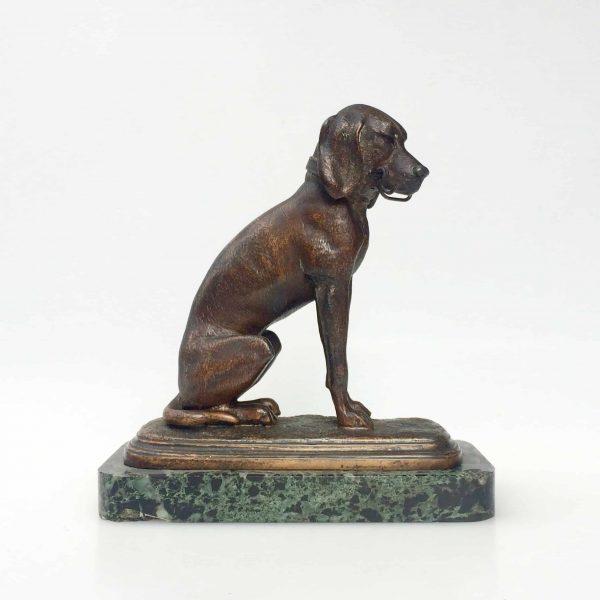 Statue chien porte montre