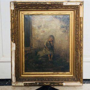 Jules BOQUET – Tableau École Française – Enfant assis sur une pierre