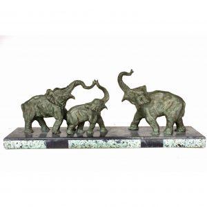 Statue Éléphants en bronze signé DECOUX