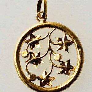 Pendentif or 18k et perles fines – motif de végetaux