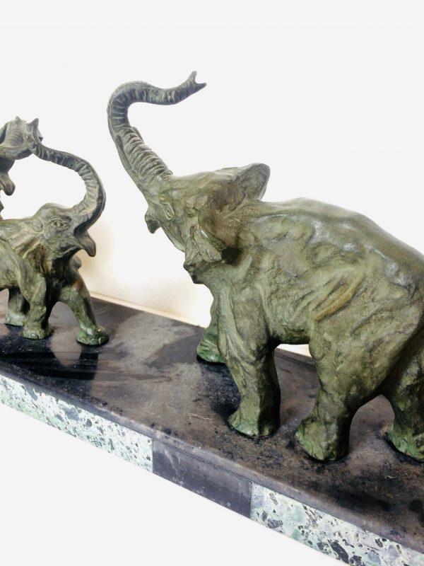 éléphants bronze signé decoux
