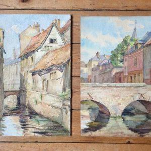 B. MACKIEWICZ – Aquarelle d'Amiens, la rue des Archers