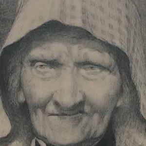 Vieille femme Picarde – eau forte de Lucien PÉNAT
