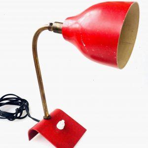 Lampe vintage – veilleuse en métal laqué rouge