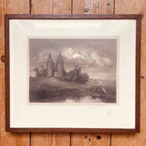 Ruines du château d'Airaines – Lithographie par A. Broquelet