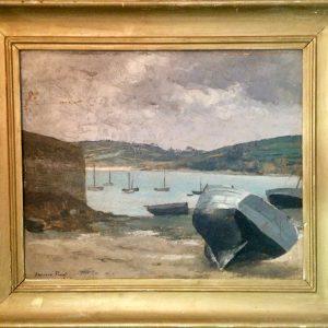 FERRÉ Édouard – Bateau dans le port de LOQUIREC Finistère – École Française