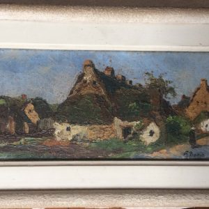 George PRESTAT – Tableau de vieilles maisons à MAYUN en Bretagne