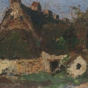 George PRESTAT – Tableau de vieilles maisons à MAYUN en Bretagne en 1948