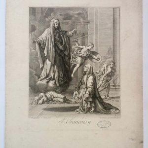 Gravure Gérard Audran d'après Nicolas POUSSIN - Sainte Françoise