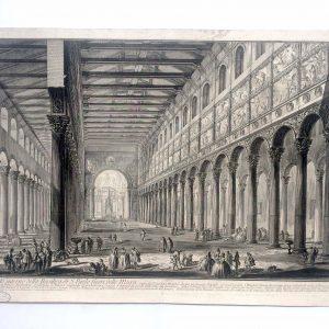 Estampe PIRANESI - Spaccato interno della Basilica di S. Paolo fuori delle Mura