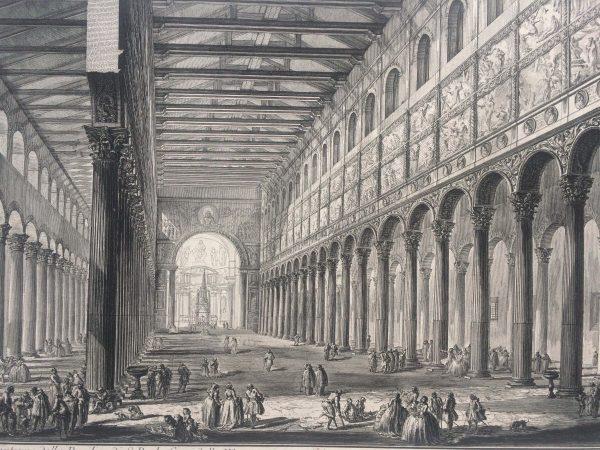Estampe PIRANESI - Spaccato interno della Basilica di S. Paolo fuori delle Mura à Rome