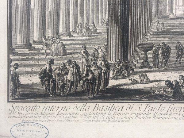 Estampe PIRANESI - Spaccato interno della Basilica di S. Paolo fuori delle Mura signature