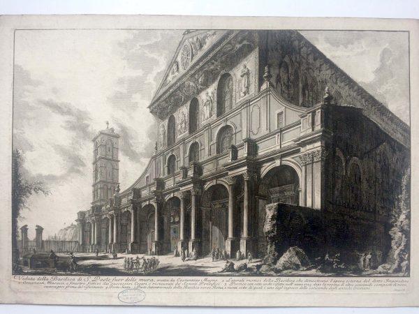 Estampe PIRANESI Veduta della basilica di S. Paolo fuor delle mura