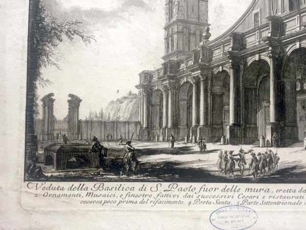 Estampe PIRANESI - Veduta della basilica di S. Paolo fuor delle mura détail