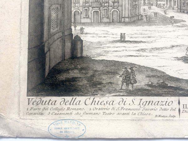 Estampe de Barbault et Montegu - Veduta della Chiesa di S.Ignazio détail
