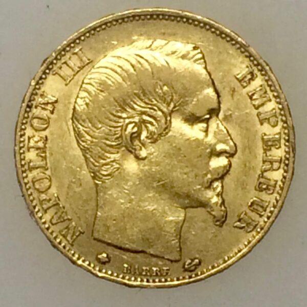 Napoléon III - 20 francs OR de 1860 barre