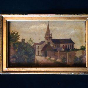 Tableau paysage de bretagne église