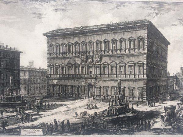 Veduta del palazzo FARNESE estampe Piranesi
