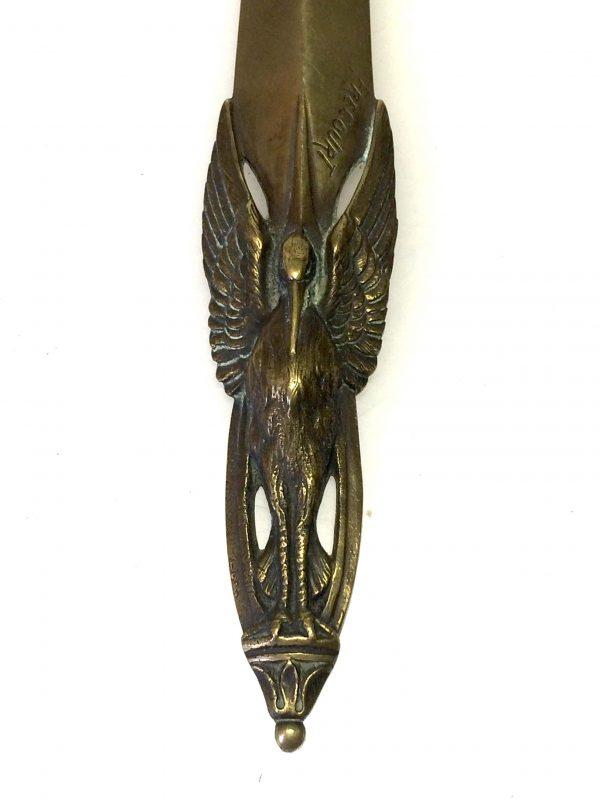 coupe papier en bronze frecourt oiseau cigogne