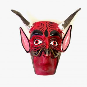 Masque en bois de démon – Diable rouge à cornes de chèvres