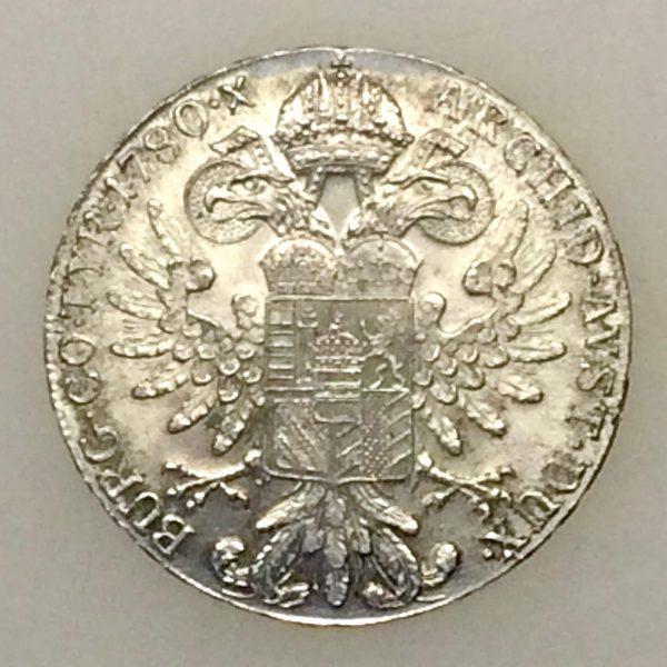 thaler Marie Thérèse - monnaie d'argent 1780 revers