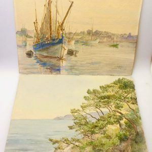 B. MACKIEWICZ – Bateaux dans le port de Concarneau – Dessin originale signé