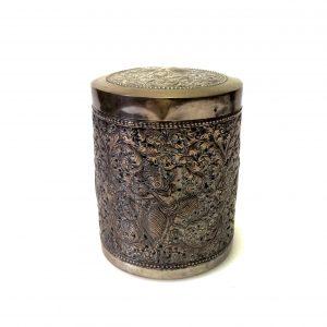 Boite à thé ancienne en argent T900 – décor d'un danseur khmer