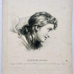 Estampe – Étude d'ange – tableau originale de LE BRUN