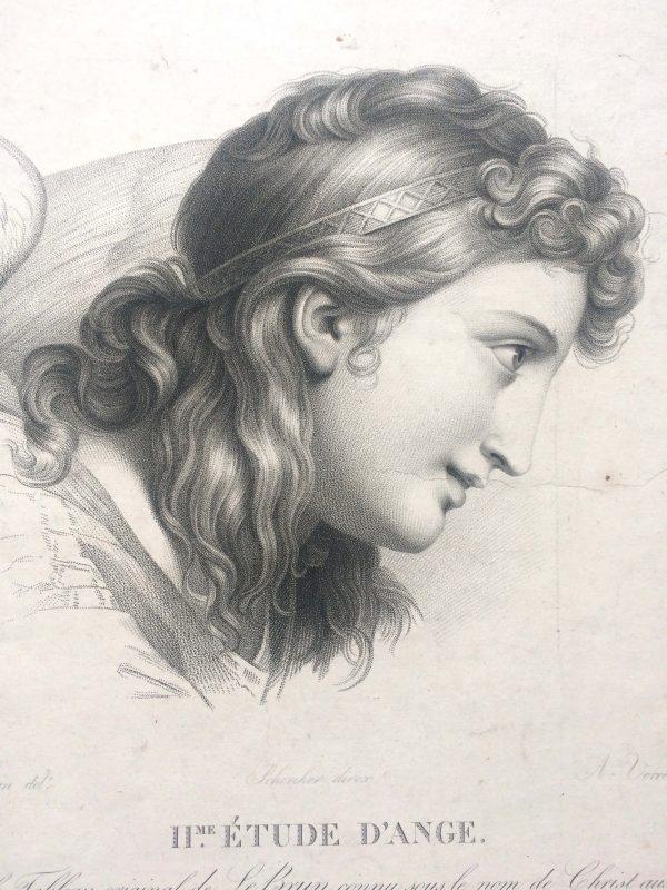 Estampe – Étude d'ange – tableau originale de LE BRUN - christ aux anges