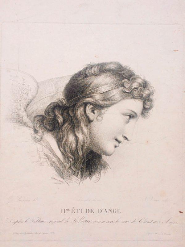 Estampe – Étude d'ange – tableau originale de LE BRUN - reverdin
