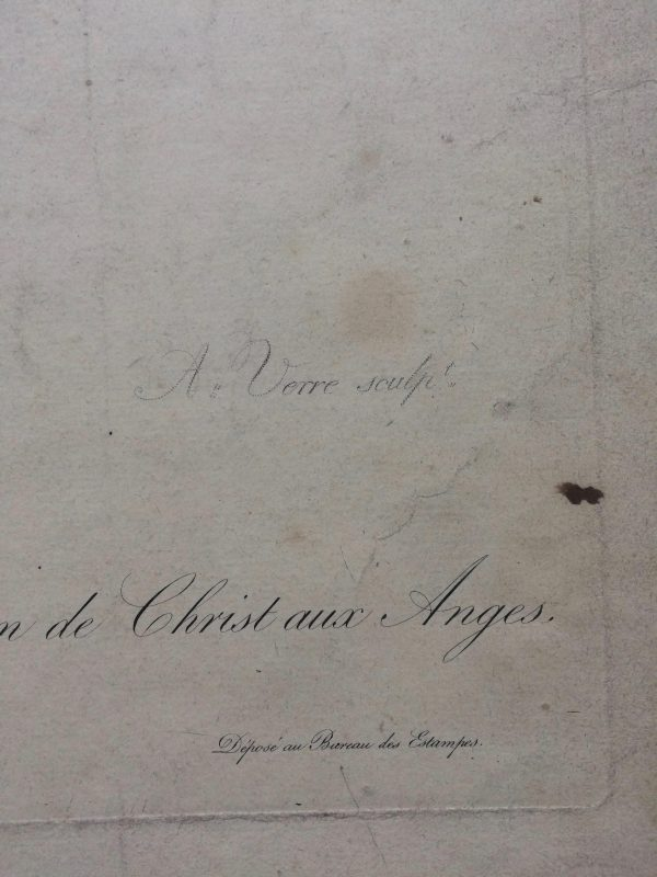 Estampe – Étude d'ange – tableau originale de LE BRUN signature Verre