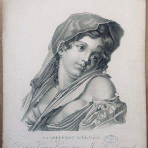Estampe – La réflexion agréable – d'après Greuze gravé par Henri Legrand