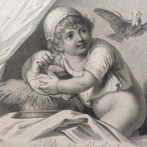 Estampe – Le plaisir de l'enfance – déssiné par Huet père – gravé par Augustin le Grand