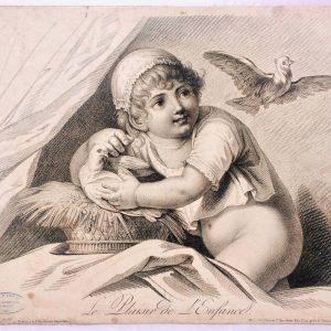 Estampe - Le plaisir de l'enfance - déssiné par Huet père - gravé par Augustin le Grand