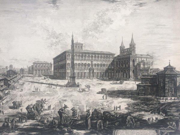 Estampe PIRANESI - Veduta della Piazza, e Basilica di Giovanni in laterano