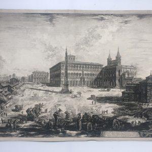 Estampe PIRANESI – Veduta della Piazza, e Basilica di Giovanni in laterano