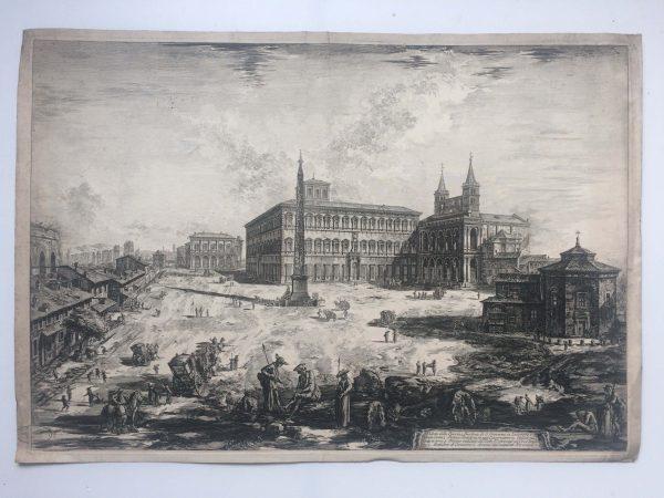 Estampe PIRANESI - Veduta della Piazza, e Basilica di Giovanni in laterano détail
