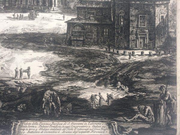 Estampe PIRANESI - Veduta della Piazza, e Basilica di Giovanni in laterano signature