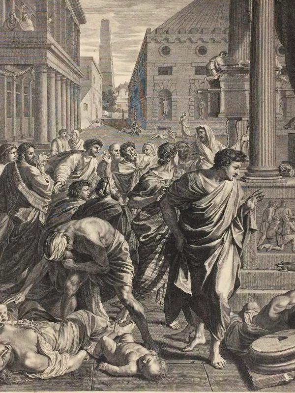 Estampe de Nicolas Poussin - La Peste d'Asdod détails personnage