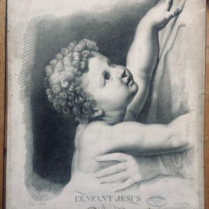 Estampe De L'enfant Jesus D'après Le Tableau Peint Par Raphaël